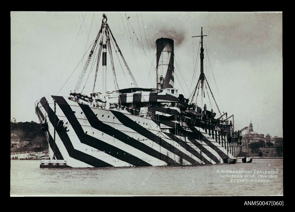 The HMT ZEALANDIA in Sydney Harbour in her dazzle paint. ANMS0047[060]