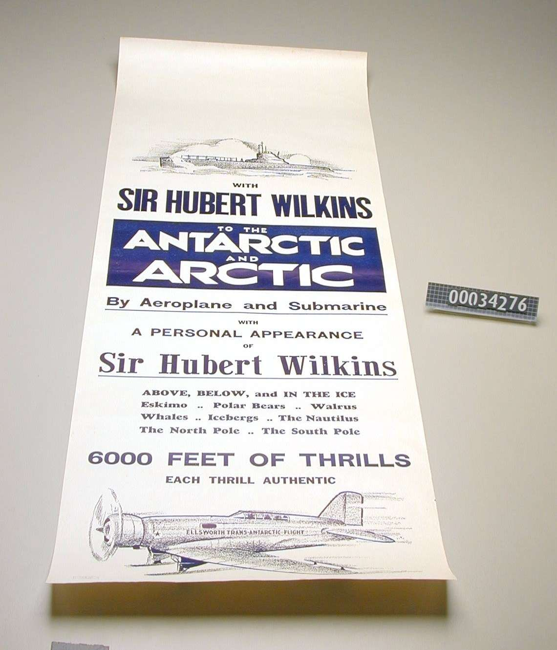 Poster advertising Sir Hubert Wilkins and his adventures. ANMM Collection item 00034276