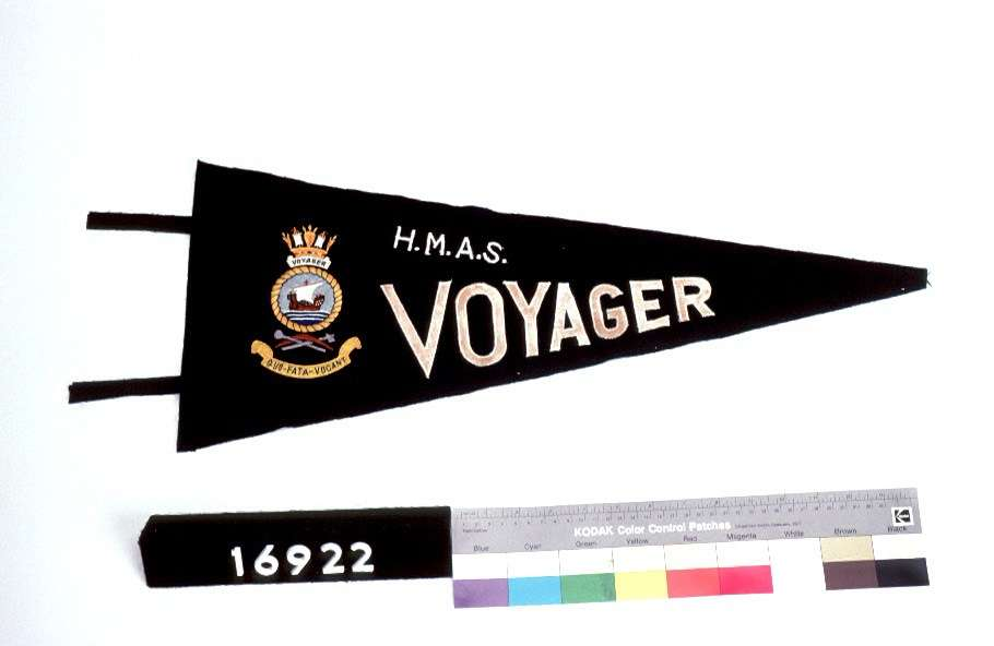 HMAS VOYAGER pennant flag. ANMM Collection gift from M Hampson