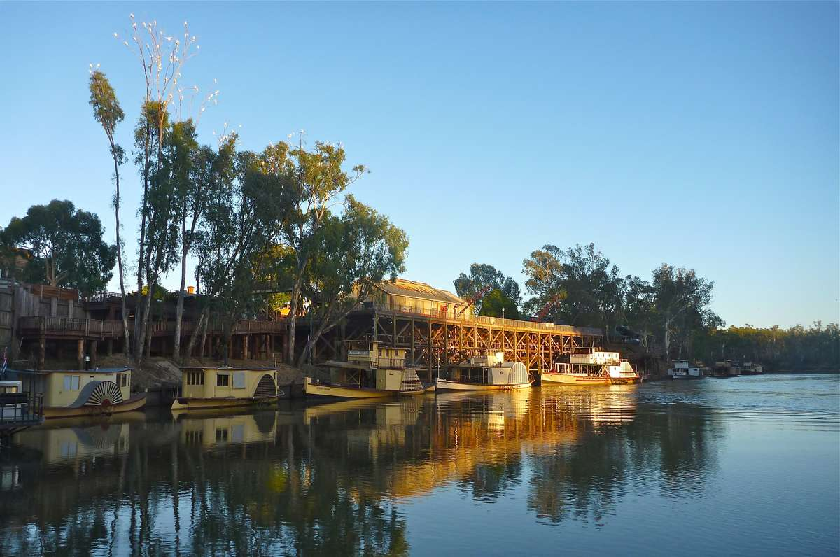 Sunrise on the Murray at the Port of Echuca wharf. Image by David Payne