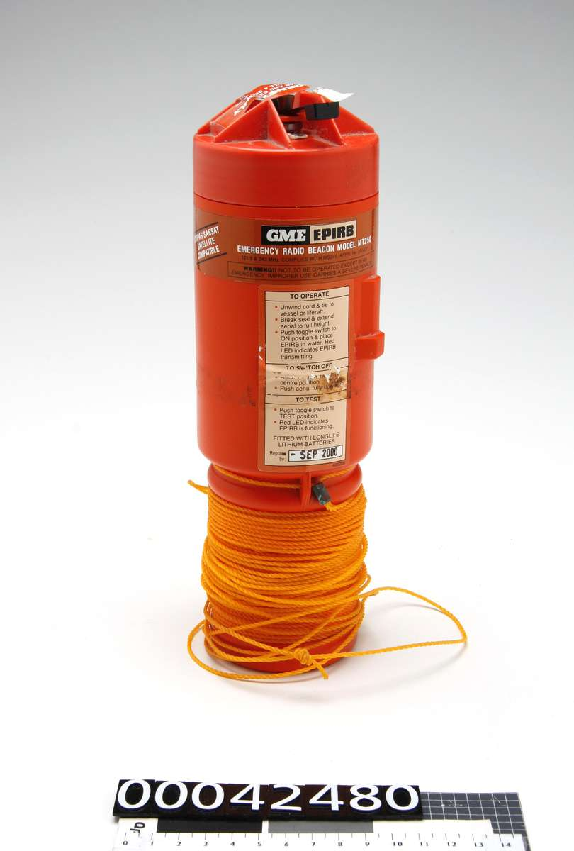 GME Epirb carried on board BERRIMILLA II in 1998. ANMM Collection Gift from Alex Whitworth