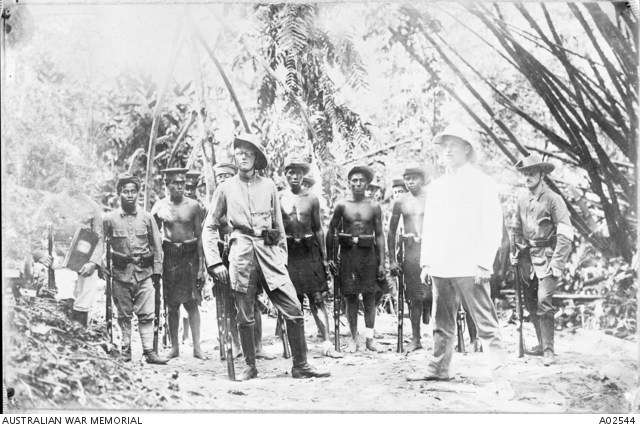 German New Guinea local troops at drill, being trained by German Reservists, shortly before the arrival of the Australian Naval and Military Expeditionary Force (AN&MEF). Australian War Memorial