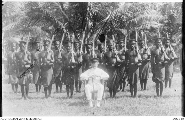 Captain Norrie, Officer Commanding and Acting Military Administrator at Nauru with a squad of native police that had initially been formed by the German administration. Australian War Memorial