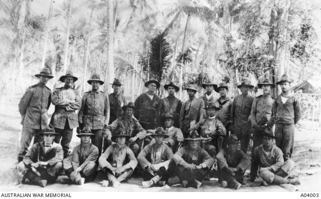 Staff of the Royal Australian Naval Brigade after the operations against the Germans. As it was to fight ashore, the naval contingent adapted - some dying their white cotton clothes with tea to create a colour close to khaki. Australian War Memorial