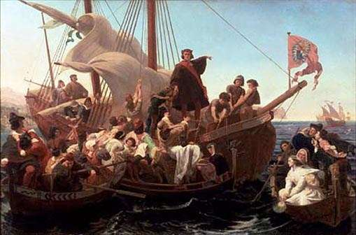 Christopher Columbus on Santa Maria in 1492 by Emanuel Leutze. Source: Wikimedia Commons