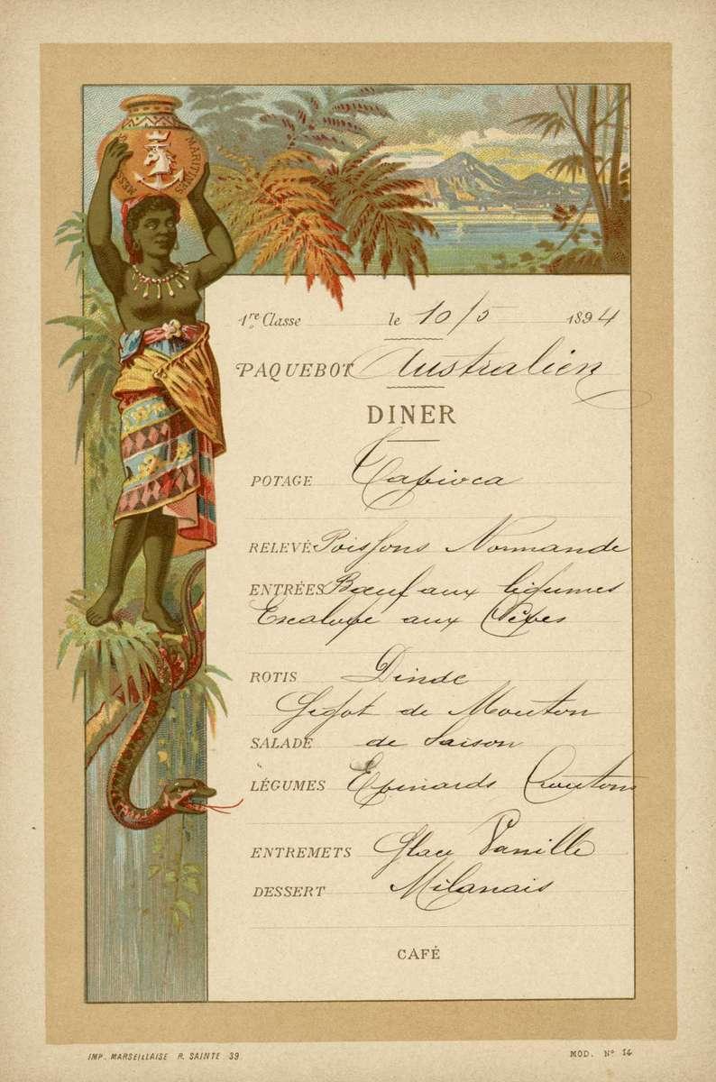 Handwritten menu from the SS Australien, 1894 ANMM Collection