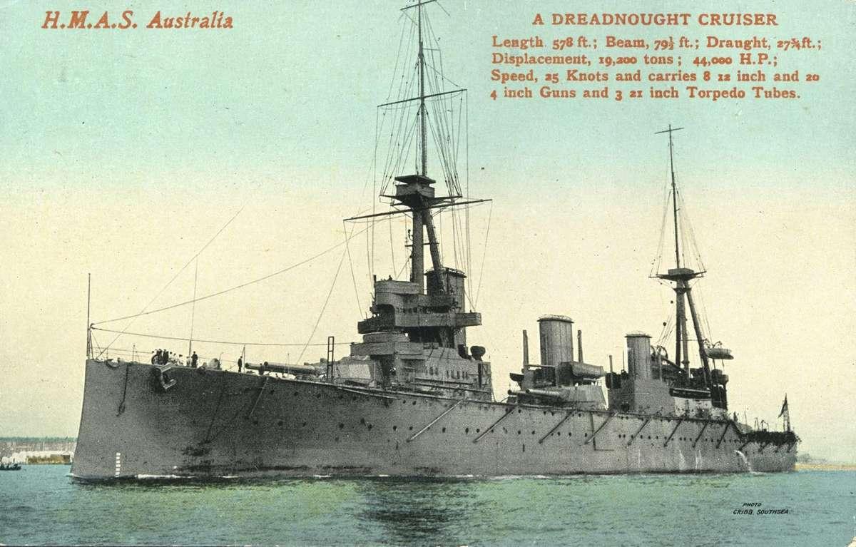 Postcard showing HMAS Australia and the vessel