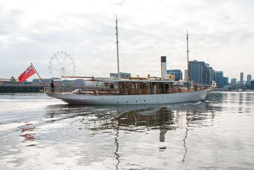 SY ENA coasts into Docklands, Melbourne. Photo by Jeff Malley