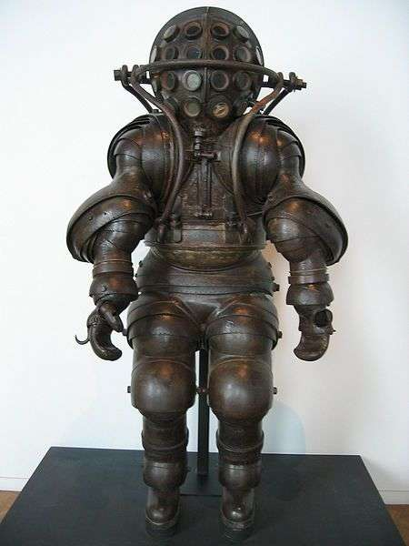 Atmospheric diving suit by Alphonse and Theodore Carmagnolle, 1882. Now at the Musée national de la Marine, France. (Image: Wikimedia Commons)