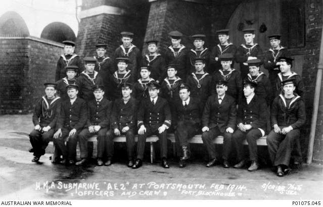 AE2 crew members. Henry Kinder is in the front row, far right.  Australian War Memorial