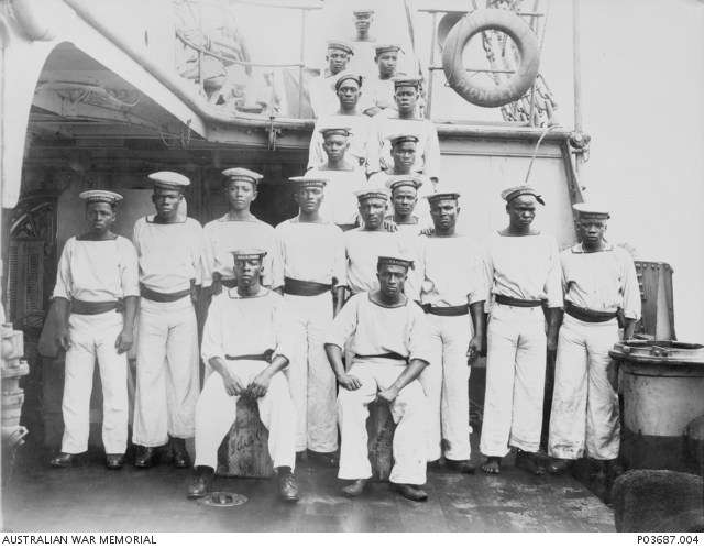 Seedie Boys on HMAS Pioneer circa 1916. Seedie boys were so named because they were subjects of the Sultan or Seyyid of Zanzibar.  Australian War Memorial collection