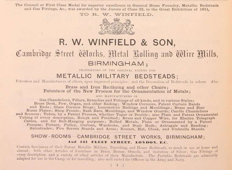 An advertisement for R.W.Winfield showing their extensive range and 1851 Council Award.