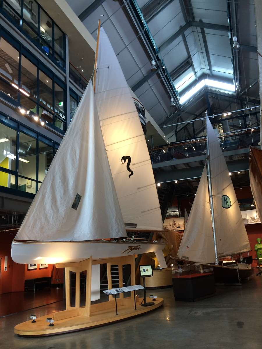 18-footers TAIPAN and MYRA TOO replica on display in Wharf 7. MYRA TOO kindly on loan from the Sydney Flying Squadron.