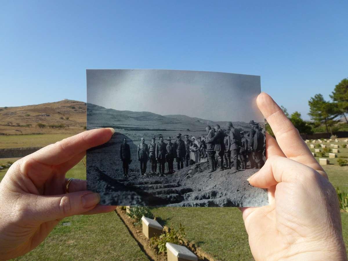Burial service, Portianou, then and now. Photo A. W. Savage, B. de Broglio.