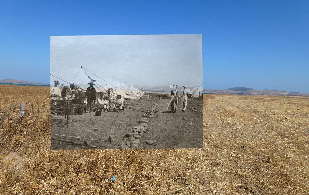 No. 3 Australian General Hospital, Lemnos, then and now. Photo A. W. Savage, C. Ward & B. de Broglio.