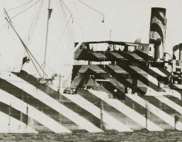 Dazzle pattern on a merchant vessel during WWI.  ANMM Collection