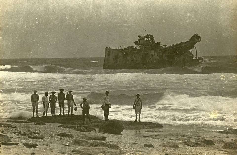 The wreck of the Emden beached on North Keeling Island, Cocos Islands.