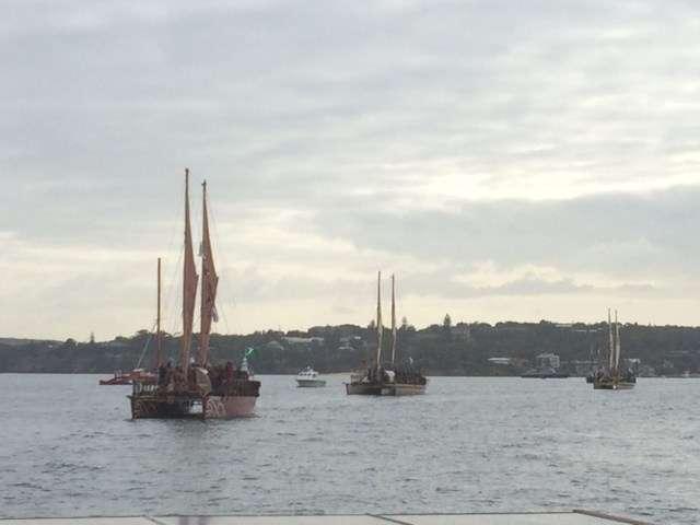 Vakas sailing into Sydney Harbour