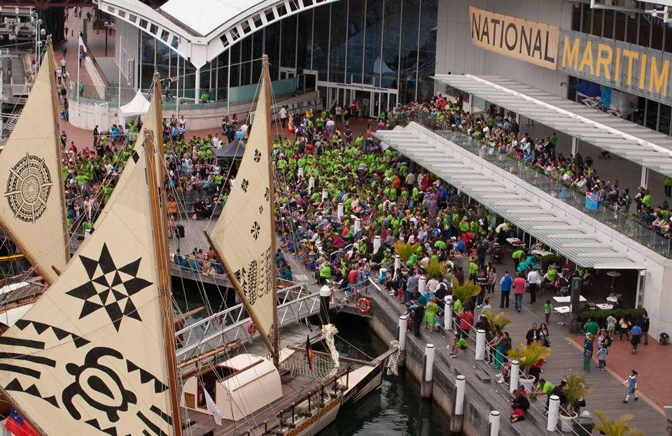 Vakas at the welcoming ceremony at the Australian National Maritime Museum.