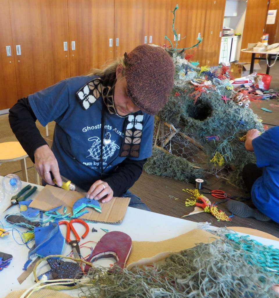 Making marine creatures for the bommie sculpture