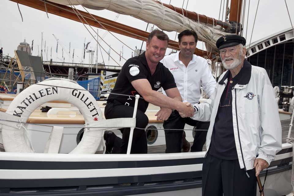 John Gordon, an 87-year-old veteran of the 1945 race, with Anthony Bell and  Mark Richards on board Kathleen Gillett.