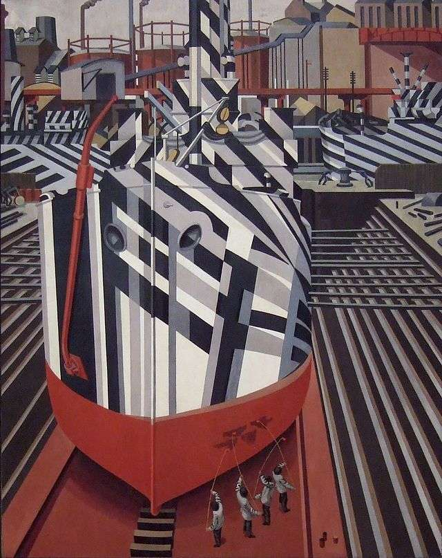 Edward Wadsworth.  Dazzle-Ships in Drydock at Liverpool Oil painting, 1919