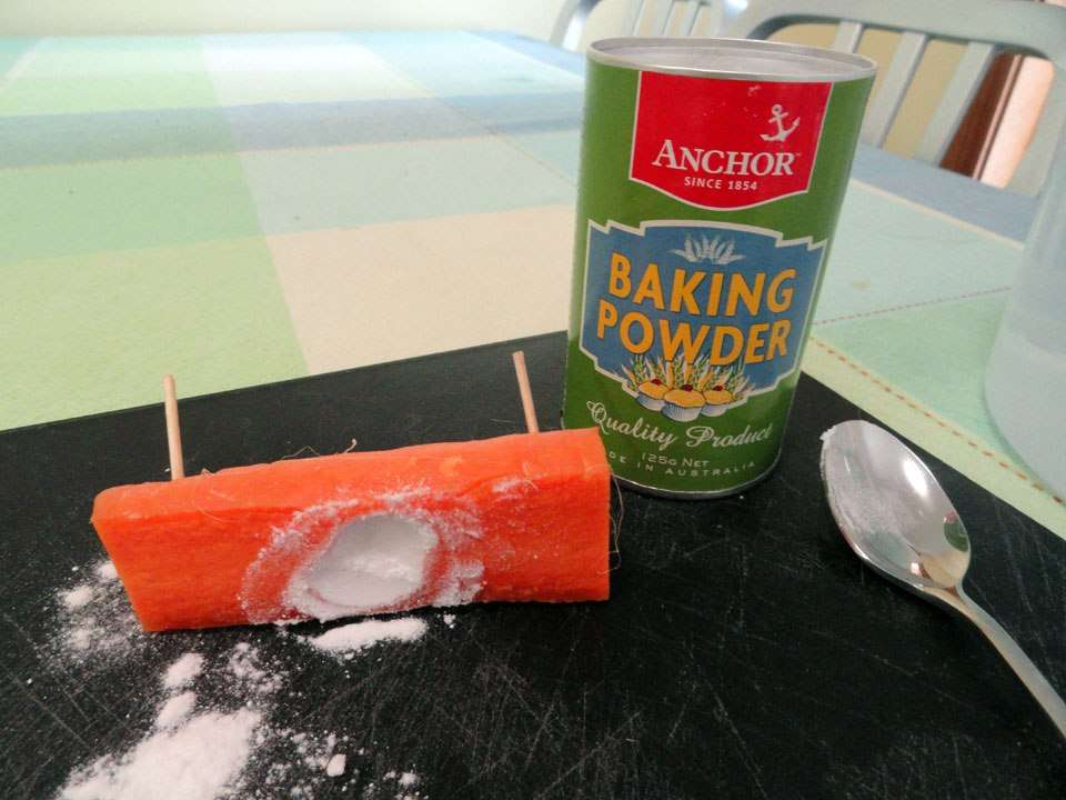Putting baking powder in the carrot submarine