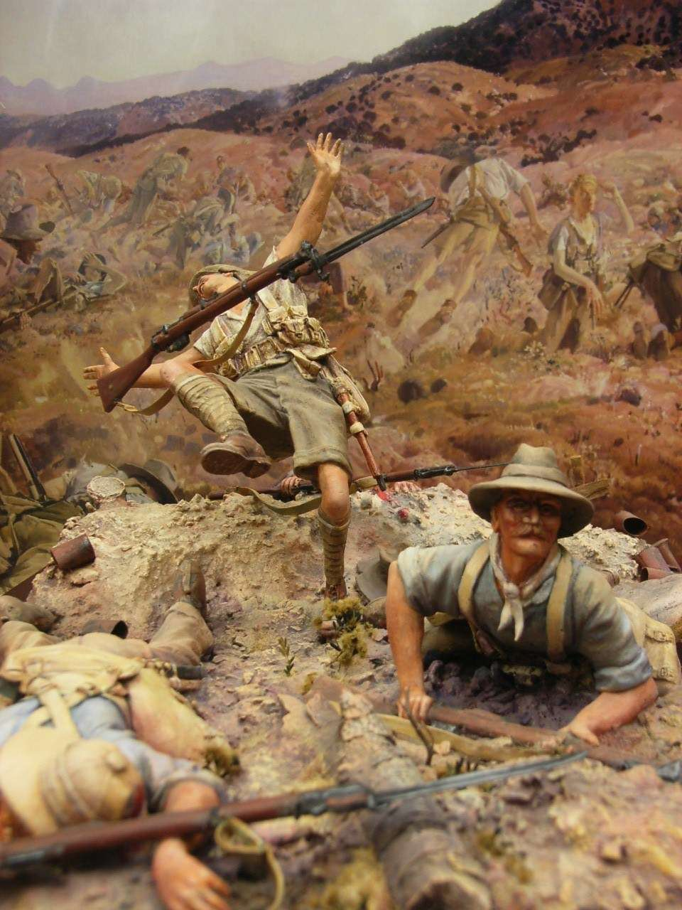 Scene from an Australian War Memorial diorama showing Anzac troops being