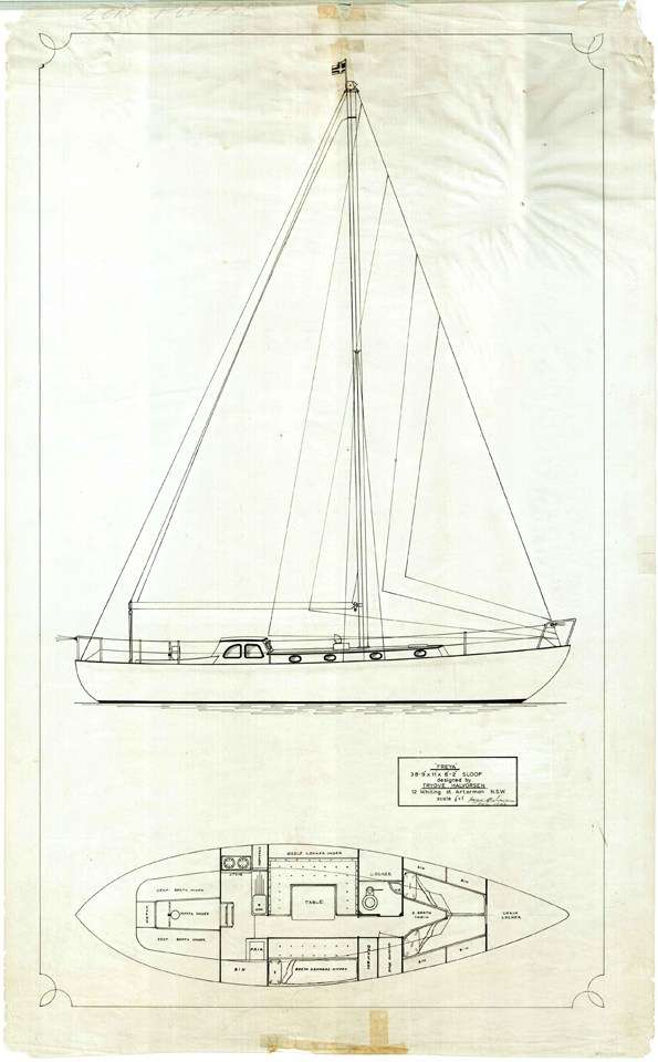 Freya sail plan drawn by Trygve Halvorsen. ANMM Collection