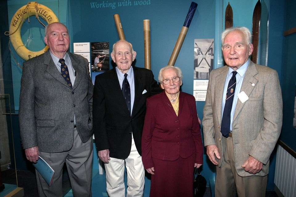 Magnus Halvorsen, Trygve Halvorsen, Elnor Bruem and Carl Halvorsen at the opening of the 2007 exhibition Dreamboats & Workboats – The Halvorsen story at the ANMM.