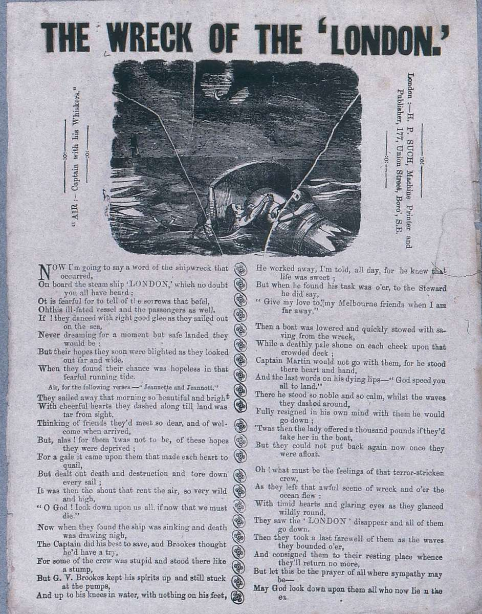 Broadsheet ballad about the London tragedy. ANMM Collection