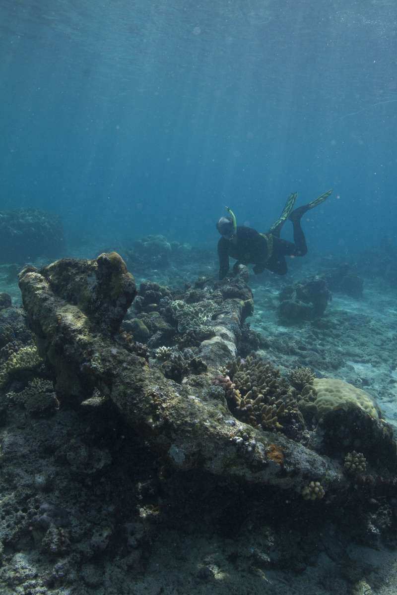 Diver John Mullen, Silentworld Foundation and 19th century anchor on Ashmore Reef.