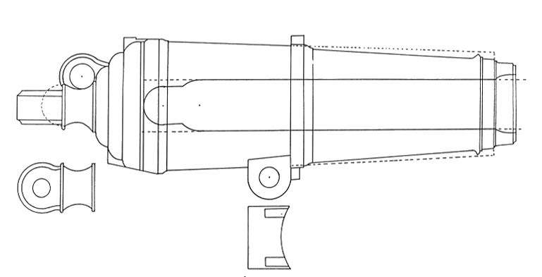 Schematic drawing of late model carronade c. 1795