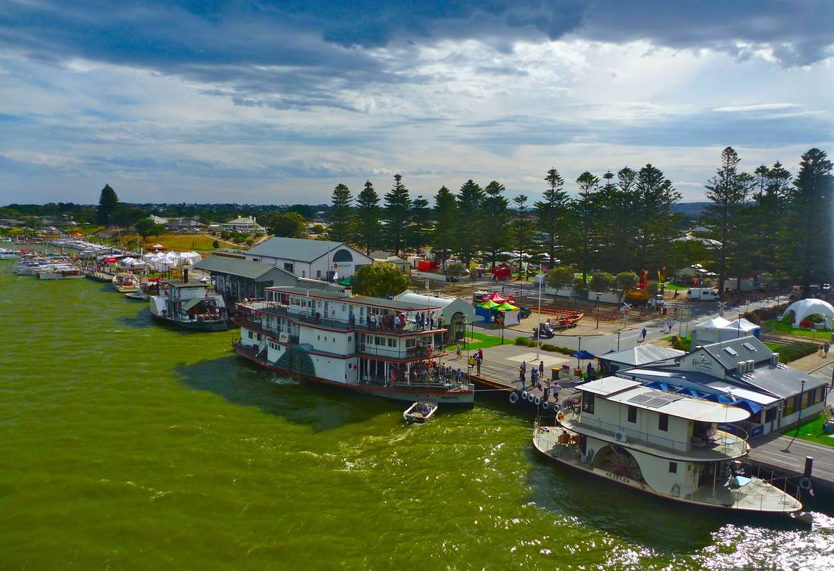View of the South Australian Wooden Boat Festival from Hindmarsh Bridge.