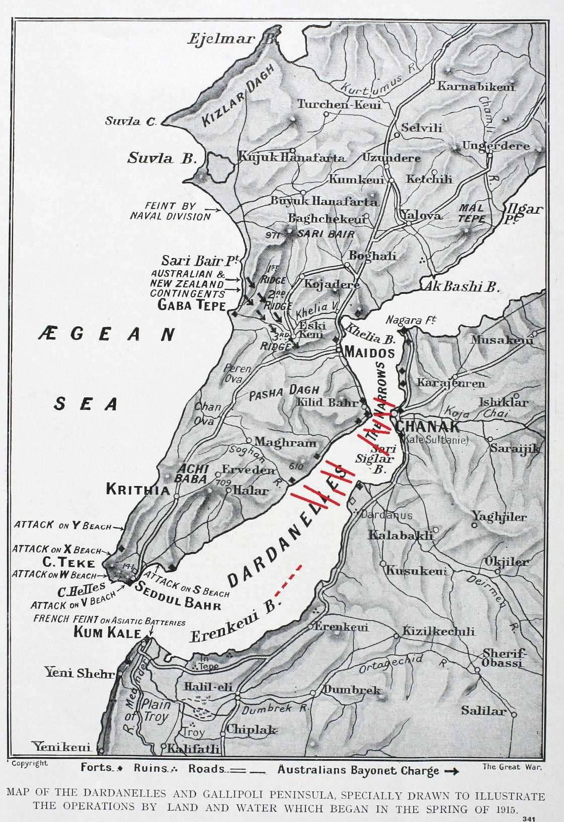 1915 map of the Dardanelles Straits. The added red lines show the mines known to the Allies. The hatched line of mines was unknown. ANMM collection