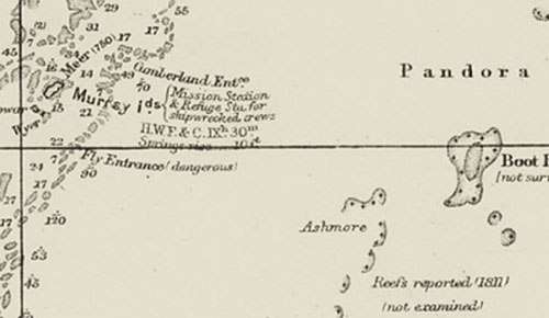 Chart extract showing Cumberland Entrance and Murray Islands