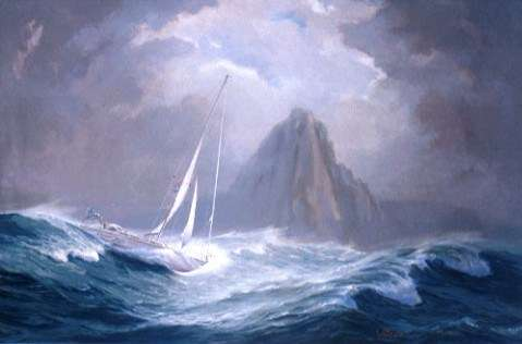 Blackmores First Lady surfing down a wave rounding Cape Horn. Painted by Jack Earl, 1988. ANMM Collection.
