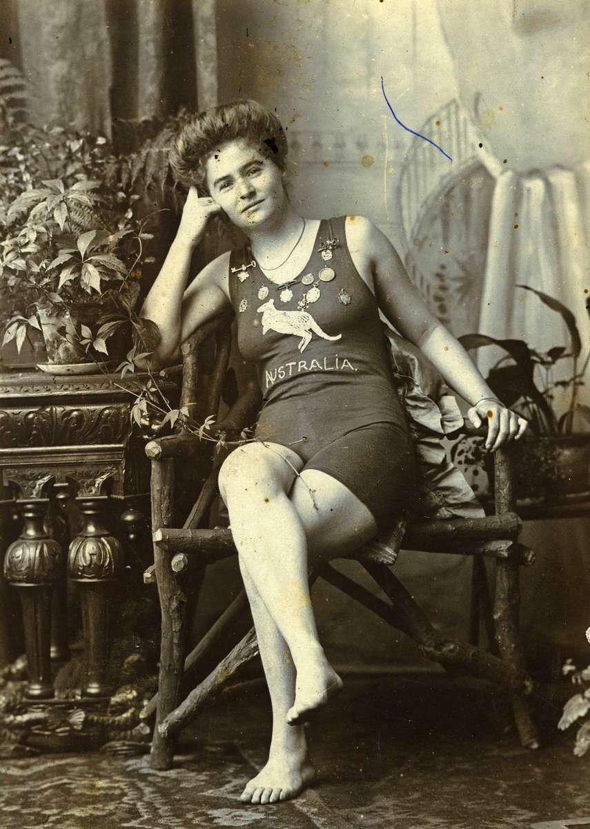 Beatrice Kerr in her Australia swimsuit