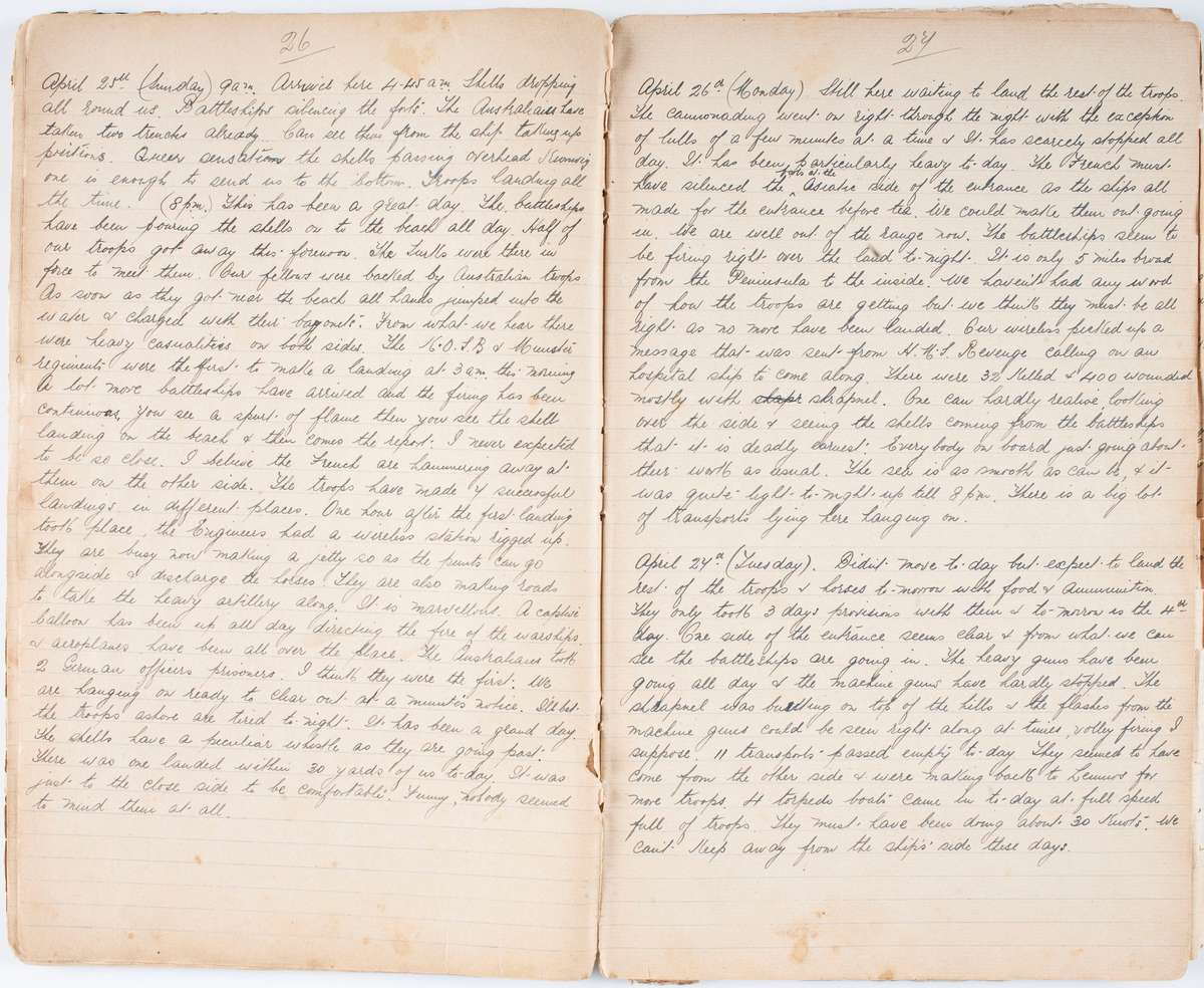 George Armstrong's diary open on 25 April 1915. ANMM Collection  Gift from David Matheson