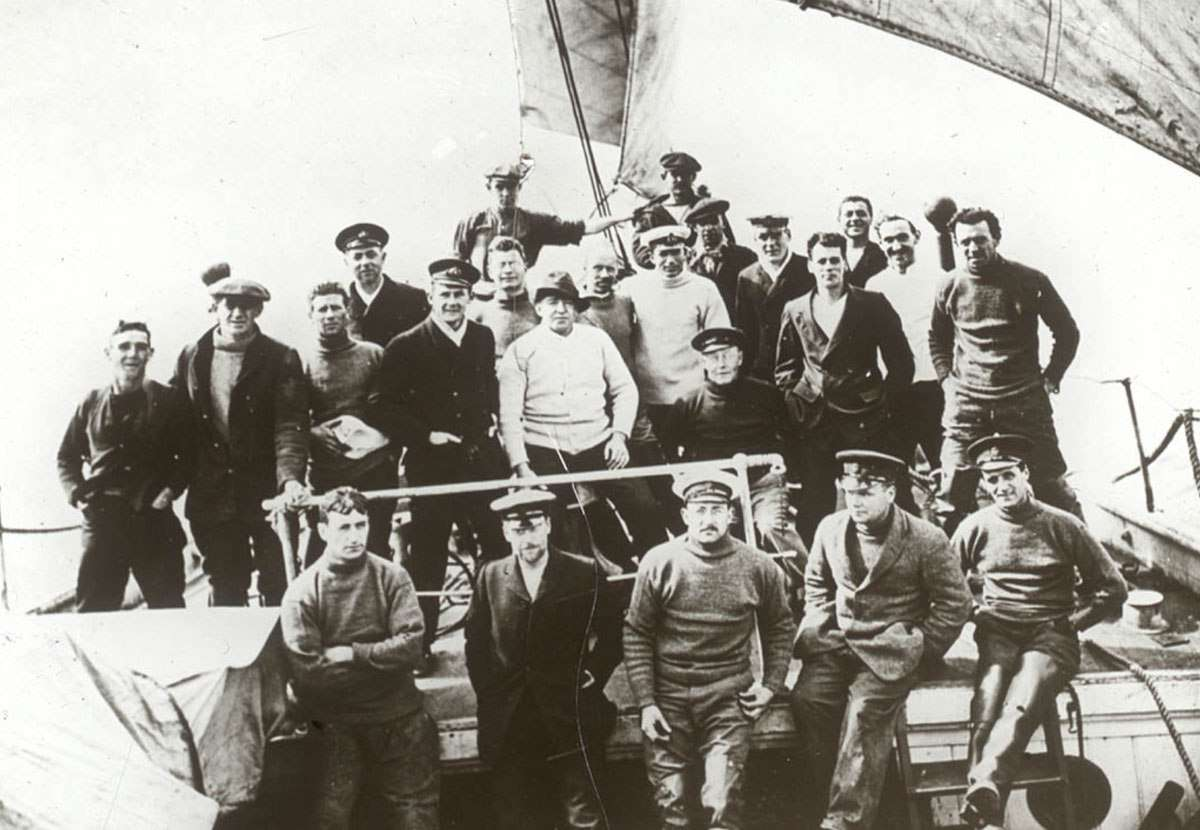 Portrait of most of the Weddell Sea Party on Endurance near Buenos Aires