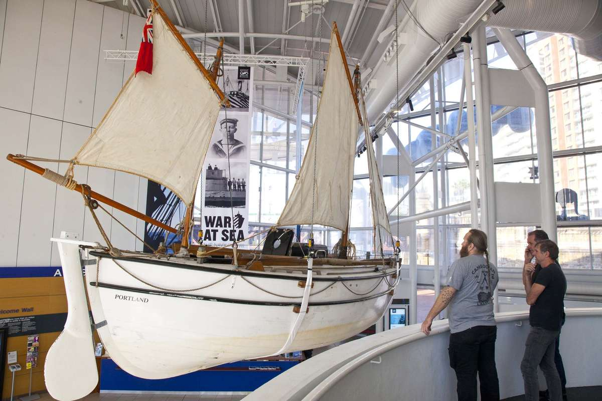 The replica James Caird, named Alexandra Shackleton, on display in the foyer of the Australian National Maritime Museum.