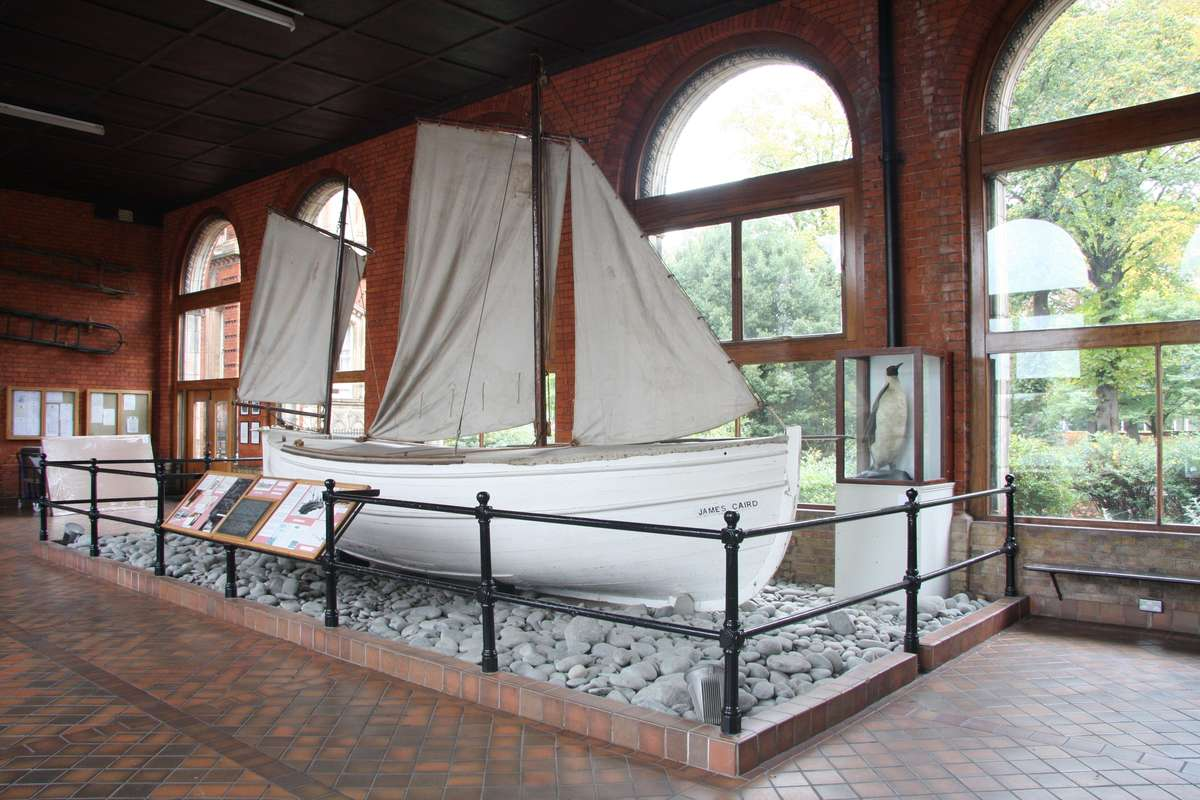 The original James Caird on display at Dulwich College.