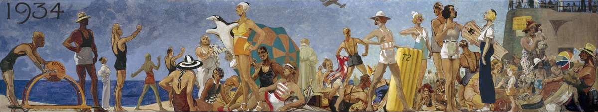 Bondi beach in 1934. Reproduced courtesy Bondi Surf Bathers