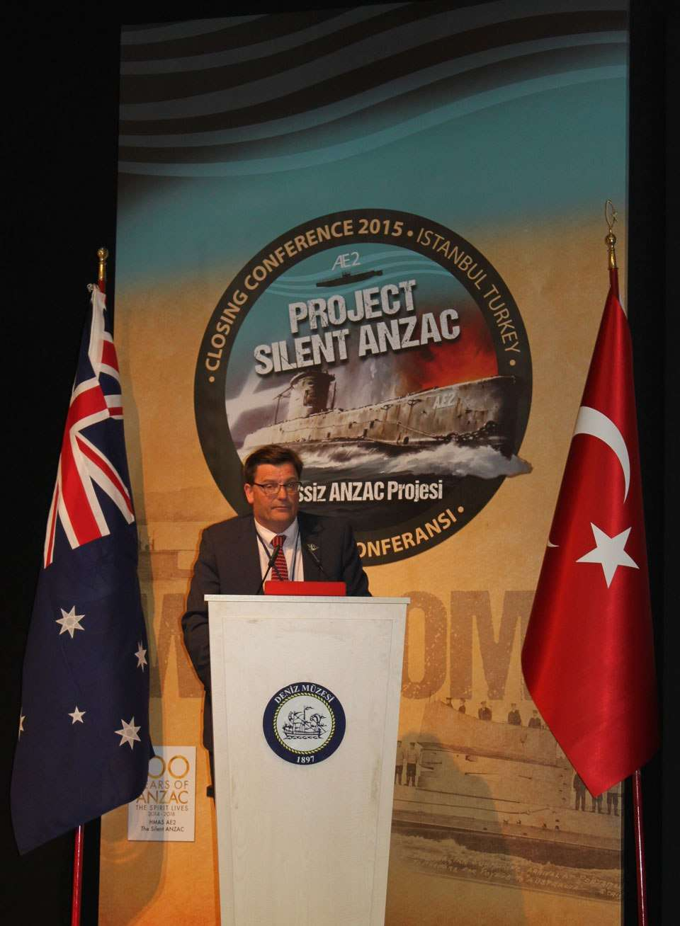 ANMM Director Kevin Sumption presents a paper at the AE2 Closing Conference in Istanbul, 20 April 2015.