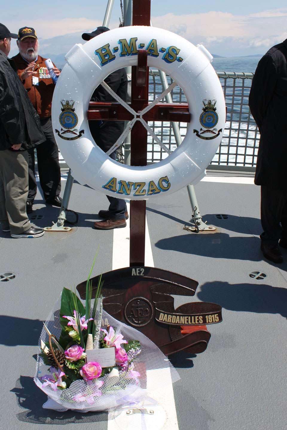 A wreath placed aboard HMAS Anzac by descendants of AE2's crewmen