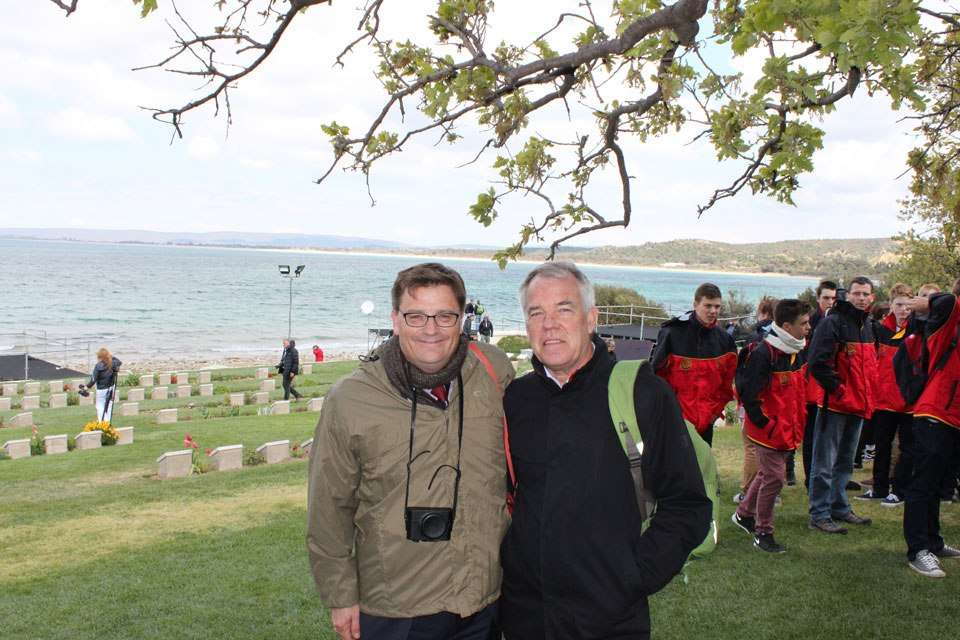 ANMM Director Kevin Sumption and Head of Research Dr Nigel Erskine at Ari Burnu, 21 April 2015.