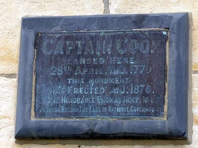 Captain Cook's plaque at Kurnell.