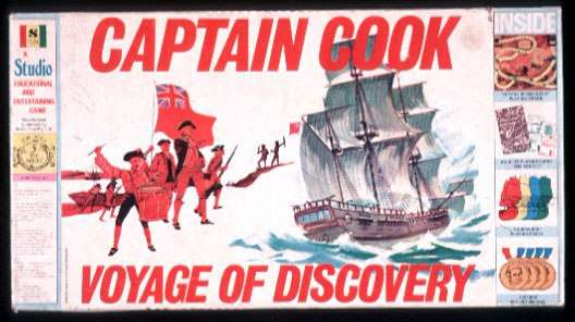 Lid to a board game of Captain Cook