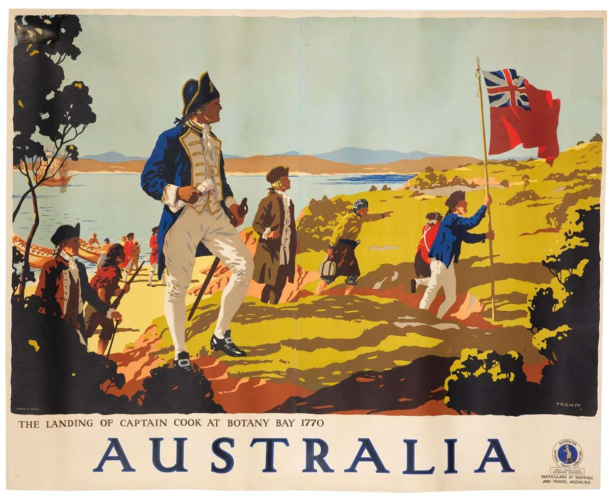 1930 poster - the landing of Captain Cook at Botany Bay 1770 Australia