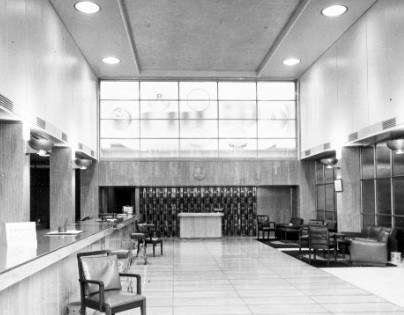 The Booking Hall featuring the Lynton Lamb glass panels.  ANMM Collection